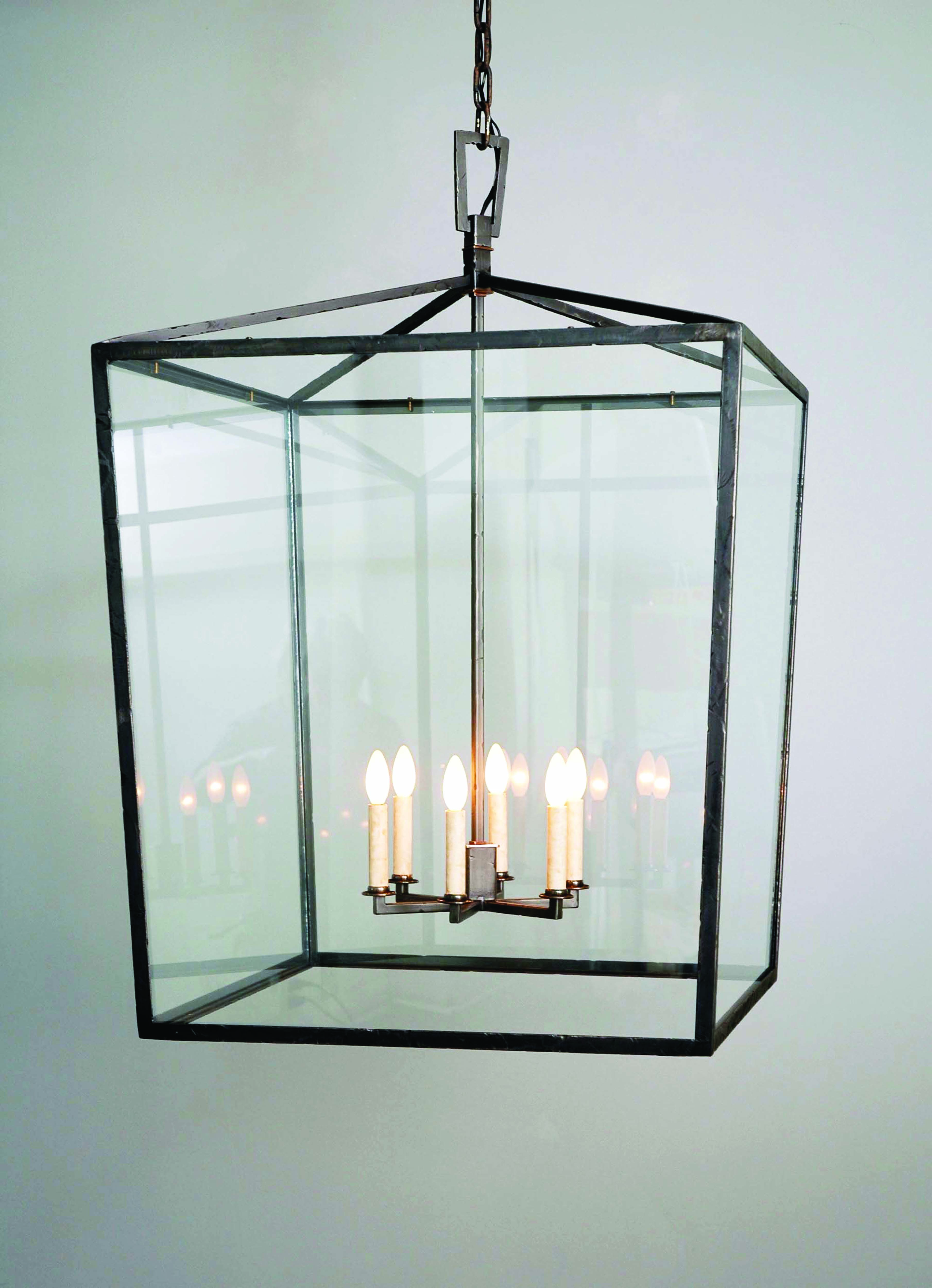 Square Box Cage Lantern - Model No. H1340H | Copper Lantern Lighting